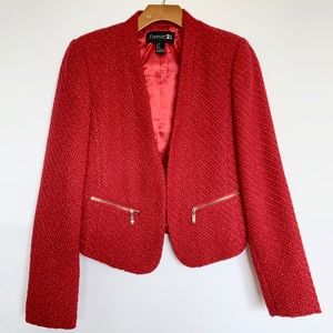 Forever 21 | Red Metallic Cropped Blazer